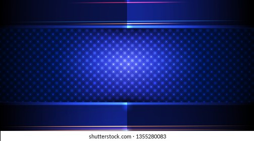 Vector metal frame with geometric pattern design. Illustration metallic silver, gold, gradient color and dark blue-black, premium background. Abstract luxury geometric shape for cover, banner