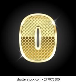 Vector metal gold letter of number 0 (Zero)