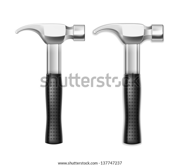Vector Metal Hammer isolated on white background