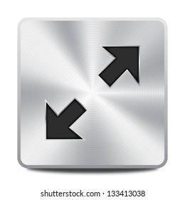 Vector metal multimedia maximize icon / button, design element