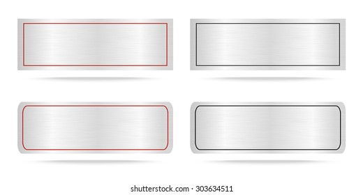 Vector Metal name plate or Metallic labels .Vector illustration