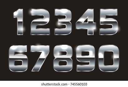 Vector metal numbers.Silver numbers set.