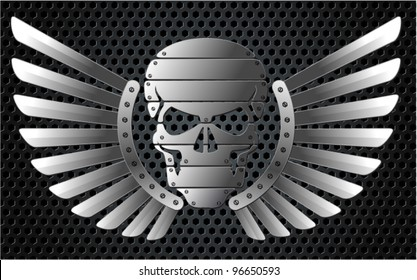 Vector metal skull with wings
