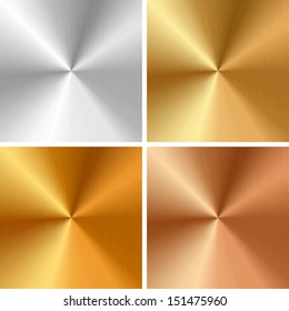 Vector metal textures - silver, gold, antique gold, bronze