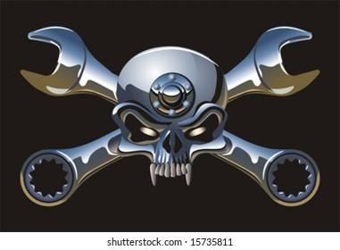 Vector metall Jolly Roger. More cartoon transportation illustrations see in my portfolio.