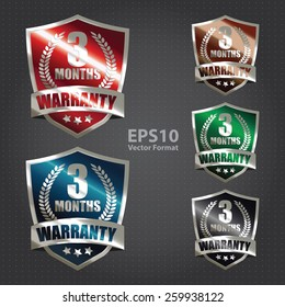vector : metallic 3 months warranty shield sticker, badge, icon, stamp, label, banner, sign