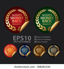 Vector : Metallic 30 Days Money Back Guarantee Infographics Peeling Sticker, Icon, Sign or Label