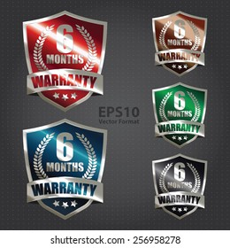 vector : metallic 6 month warranty shield sticker, badge, icon, stamp, label, banner, sign