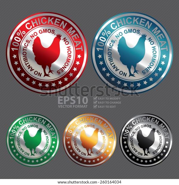 Vector Metallic Circle 100 Chicken Meat Stock Vector