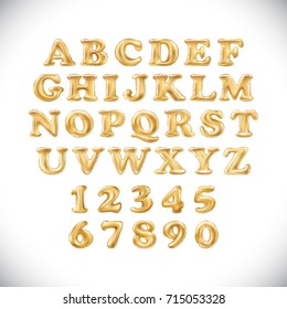 vector Metallic Gold Balloons English alphabet and numerals on a white background. holidays and education golden letter. new year, holiday, birthday, celebration. shiny bright font in the air
