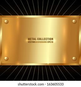 Vector Metallic Golden Plate
