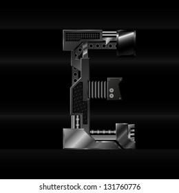 vector metallic letter E