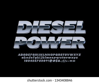 Vector Metallic logotype Diesel Power with 3D Font. Silver Alphabet Letters, Numbers and Symbols