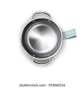 Vector metallic pan isolated on white background. for design element. Top view