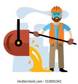 Vector Metallurgical industry. Flat style colorful Cartoon illustration