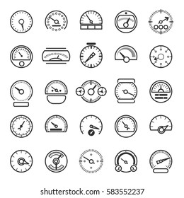 Vector meter and gauge control icons for dashboard. Linear speedometer and tachometer for panel auto illustration