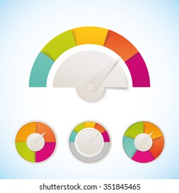 Vector meter template design elements template. Meter measure speedometer icon design template.