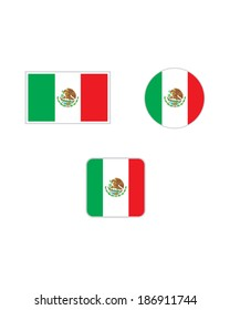 Vector Mexican flag and icon set