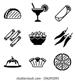 vector mexican food icons