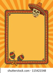 vector mexican frame with skull in sombrero