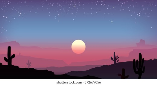 Vector mexican sunset  with peyote