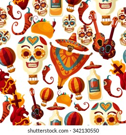 Vector Mexico background with sugar scull and hot chili pepper