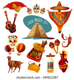 Vector Mexico icon set isolated on the white background