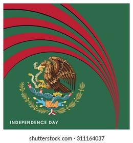 Vector Mexico Independence Day 16 September Celebration Card. abstract flag Red lines creative design elements on green background. Illustration