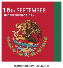 Vector Mexico Independence Day 16 September Celebration Card. Illustration