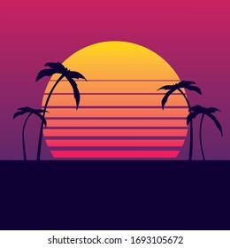 Vector miami sun gradient, vice 80's, retro sun, palms, hawaii