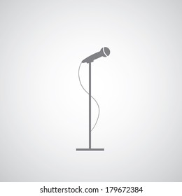 vector microphone on gray background