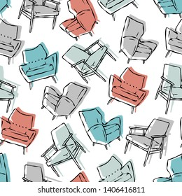 Vector mid century chairs seamless pattern. Retro background ideal for home decor and wallpaper.
