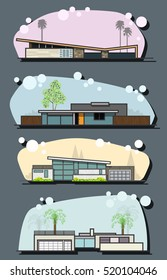 Vector Mid Century Houses Set Modern Googie Populuxe Architectural Style Collection Fifties, Sixties Trends