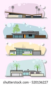 Vector Mid Century Houses Set Googie Populuxe Modern Architectural Style Fifties Sixties Trends