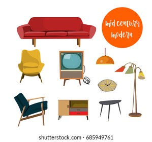 vector mid century modern illustration. elements collection set. 1960s 1950s house. interior design icons. danish style.