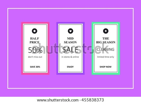 29de8b7e5e Vector Mid Season Sales Banners Website Stock Vector (Royalty Free ...