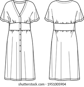 Vector Midi short sleeved Dress fashion CAD, woman long v neck dress with buttons in front technical drawing, template, sketch, flat. Jersey or woven fabric dress with front, back view, white col