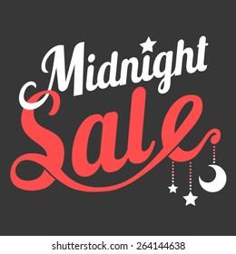 Vector midnight sale in retro style