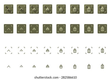 Vector military rank icon set multiple style