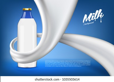 Vector milk background banner, ready mockup for your design. Beverage product concept realistic illustration with milk or yogurt swirl and full glass bottle.