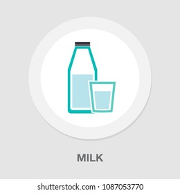 vector milk bottle and glass illustration, drink symbol - healthy food, nutrition dairy