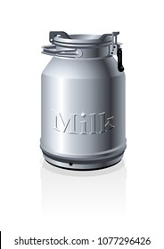 Vector milk can. EPS-10 separated by groups and layers for easy edit