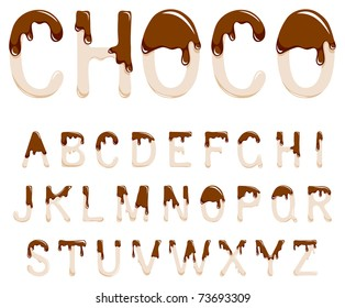 Vector milk chocolate alphabet on a white background