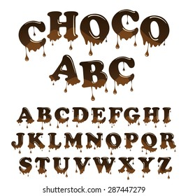Vector  milk chocolate  alphabet. Shiny, glazed letters set. Glossy typescript design. Melted chocolate font style