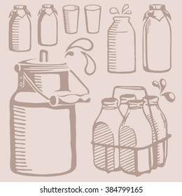 Vector milk churn and cream icons isolated