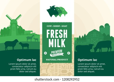 Vector milk illustration with rural landscape, cows, calves, goats, sheep and farm. Modern style milk label. Dairy farm icons and design elements.