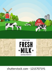 Vector milk illustration with rural landscape, cows, calves and farm. Modern style milk label. Dairy farm icons and design elements.