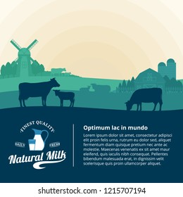 Vector milk illustration with rural landscape with cows, calves and farm.
