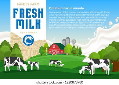 Vector milk illustration with rural landscape, cows, calves and farm. Realistic milk splash on a background. Modern style label. Dairy farm icons and design elements.