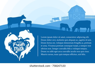 Vector milk illustration with splash, rural landscape with cows, calves and farm
